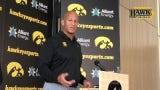 Iowa special-teams coach LeVar Woods met with reporters Friday at the Hansen Football Performance Center.