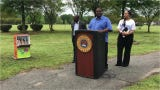 Mayor Jamie Mayo discusses the new mobile library in Charles Johnson Children's Park