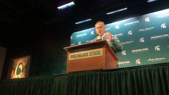 Michigan State coach Mark Dantonio's after the Spartans' spring football game, April 13, 2019 in East Lansing.