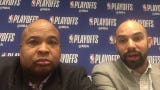 Free Press' Vince Ellis and Journal Sentinel's Matt Velazquez react to Game 1 of the first-round series between the Bucks and Pistons, April 14, 2019.