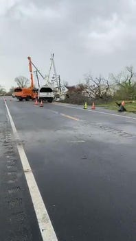 Laurel, Delaware, cleaning up from heavy storms, possible tornado