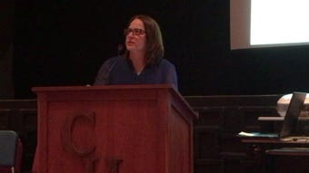 Amy Klei of the Ohio EPA introduces herself and gives a quick overview of Class I wells at a recent public hearing regarding Buckeye Brine seeking new permits.
