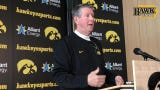Iowa quarterbacks coach Ken O'Keefe got mobile around the podium during a press conference Tuesday when discussing his starter, Nate Stanley.