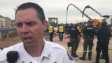 Windsor Severance Fire Chief Kris Kazian provides details on the rescue that is underway of two people trapped in a collapsed trench in Windsor.