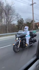 Stephen Rumbolo happened to see the Easter Bunny riding its chopper on Route 37 in Toms River.