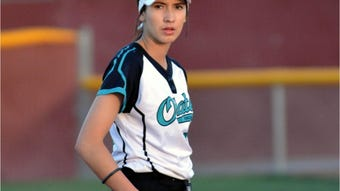 Oñate's Jaileen Mancha tore her ACL in September, but has returned to the circle for the Knights softball team.