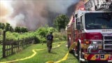 Crews worked to contain a two-alarm brush fire in Port St. John Wednesday afternoon.