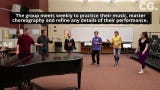 Members of Waverly's a capella group Polarity sing Bruno Mars' Finesse as they warm up during practice Monday afternoon at Waverly High School. On May 18, they will perform in a national contest.