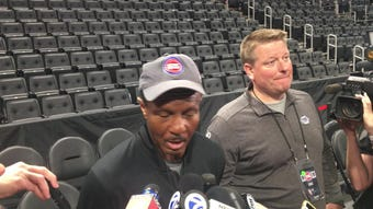 Detroit Pistons coach Dwane Casey speaks to the media on Friday, April 19, 2019, at Little Caesars Arena.