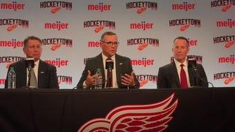 New Detroit Red Wings GM Steve Yzerman has high regard for coach Jeff Blashill. Filmed April 19, 2019 in Detroit.
