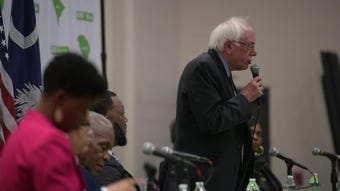 Democratic presidential candidate Bernie Sanders met with community leaders in Greenville's West End to talk about poverty and housing.