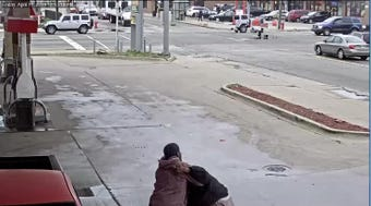 Detroit police are seeking an alleged shooter who can be seen on video pointing guns at a man and shoving him around at a gas station located on the 19100 block of Van Dyke on Friday, April 19, 2019.