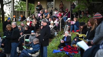 People gather during Southminster Presbyterian Church's Easter Sunday sunrise service at Radnor Lake State Park Sunday.