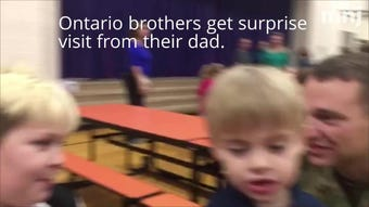 Father surprises two sons at Stingel Elementary
