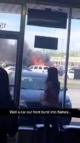 A car burst into flames Monday afternoon near Lafayette General Medical Center.
