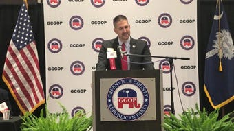 Nate Leupp addresses delegates at the Greenville County Republican Party on Tuesday night convention before being elected to a second, two-year term.
