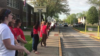 Tekoppel Elementary teachers participated in the statewide Teacher walk-in Tuesday morning.