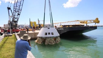 A Boeing Starliner spacecraft emergency recovery exercise held at Port Canaveral on Tuesday, April 23, 2019.