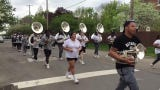 The Simmons College of Kentucky Marching Falcons took part in an impromptu practice in the Limerick neighborhood for the 2019 Pegasus Parade. 4/18/19