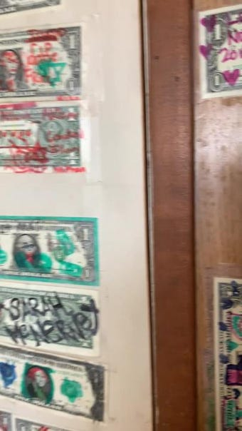 The walls, ceiling and other surfaces are covered in dollar bills at the Ski Inn in Bombay Beach, outside Palm Springs, California, Jan. 2, 2019