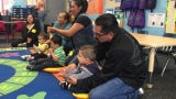 Parents and children learn together in First 5 classroom at Hathaway Elementary School in Oxnard,