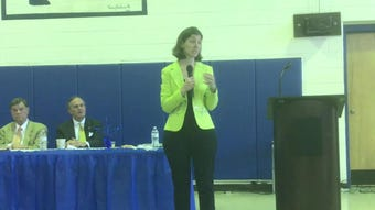 Rep. Elaine spoke about Chesapeake Bay cleanup funding and veterans' affairs during a breakfast in Eastville, VIrginia on Tuesday, April 23, 2019.