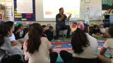 JG Larochette, founder and executive director of the Mindful Life Project, joined students at Monte Bella Elementary School for activities.