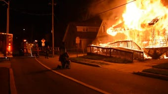 Video shows a two-alarm fire that tore through an Elsmere-area home early Thursday morning.  4/25/19