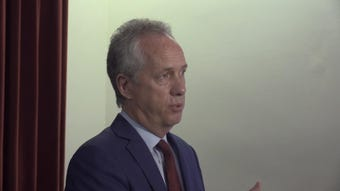 Mayor Greg Fischer explains the cuts coming to Louisville's budget, including JCPS school resource officers and closing city pools. April 25, 2019