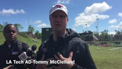 Tommy McClelland assesses tornado damage to LA Tech athletic facilities