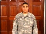 Pfc. Nickolias Sauceda, who was stationed in Iraq, talks to a Colorado TV station in this 2006 footage. Sauceda got 30 years for child pornography.