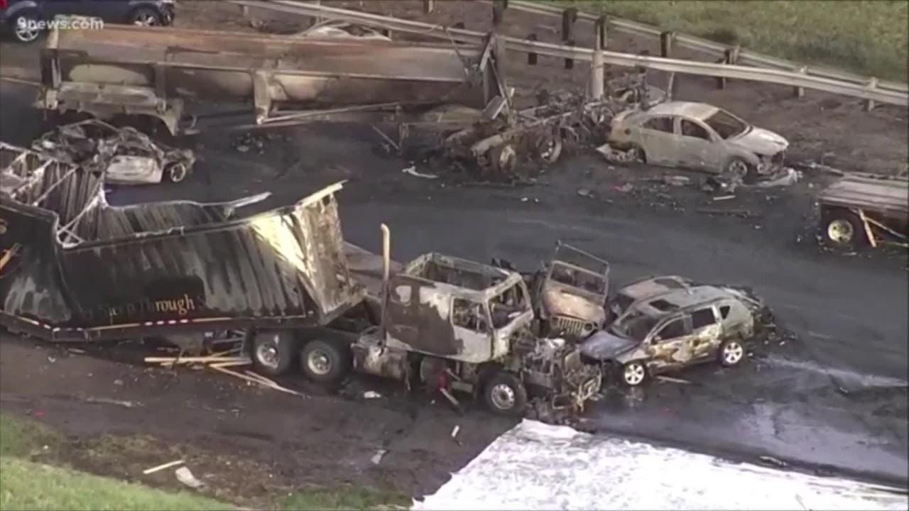 See the charred aftermath of a fiery crash on I-70
