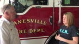 We Are Recovery member Tegan Drake thanks Assistant Chief Doug Hobson and the Zanesville Fire Department for saving lives with Narcan