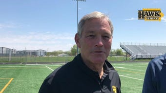 Iowa head coach Kirk Ferentz visits with reporters in Johnston, three days after it was announced Niemann would assist on the defensive line.