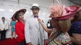 Actor and voice artist Patrick Warburton hits the Kentucky Derby red carpet with his wife and talks about his thrifty Derby suit.