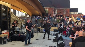 Detroit rock band Sponge helped downtown Brighton celebrate the grand reopening of an amphitheater on the Mill Pond, The AMP, Saturday, May 4, 2019.
