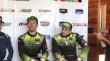 AIM Vasser-Sullivan's Jack Hawksworth, left, and Richard Heistand talk about their GT Daytona victory at Mid-Ohio on Sunday.