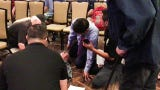 Rep. Raul Ruiz provides medical assistance at Veterans University event on May 4, 2019 in Rancho Mirage