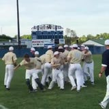 The Lancaster baseball team celebrates after 3-2 win over Gahanna to give the Gales a share of the Ohio Capital Conference-Ohio Division.