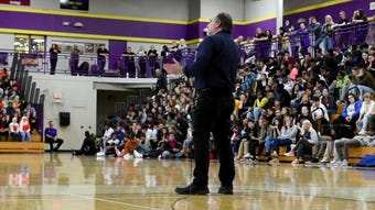 Kevin Epling, whose son was bullied and took his own life in 2002, speaks to students about bullying during a rally at Avondale High School.