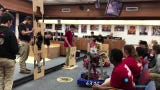 Two robotics teams competed at a world championship and then brought the robots to a meeting of the Lafayette Parish School Board.