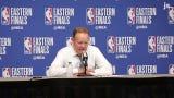 Bucks head coach Mike Budenholzer speaks on Brook Lopez's success in Game 1