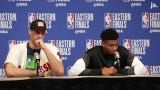 Milwaukee Bucks Giannis Antetokounmpo discusses Brook Lopez's performance in Game 1 in the Eastern Conference finals
