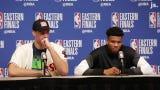 Milwaukee Bucks forward Giannis Antetokounmpo discusses how team improved 3-point shooting