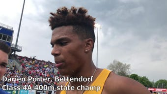 Bettendorf's Darien Porter sets the all-time record in the 400-meter dash. The senior won the Class 4A state title in 46.99 seconds.