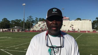 Jensen Beach coach Tim Caffey talks about his team's spring win over Martin County