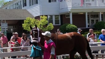 Maximum Security, who was disqualified from first to 17th in the Kentucky Derby, was paraded for the fans at Monmouth Park before Saturday's 5th race