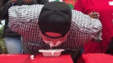 The California Strawberry Festival in Oxnard included an eating contest, and the victor shares his secret.
