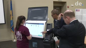 Students had a chance to try out the state's new voting machines that are a combination of electronic and paper balloting.  Video provided by John J. Jankowski Jr. 5/20/19