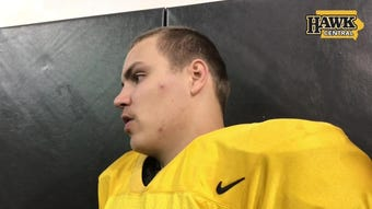 Iowa quarterback Nate Stanley is interviewed following the final spring practice of his college career, April 26.